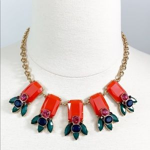 Talbots coral, green, and gold floral necklace EUC